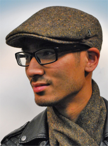 scarf Narrow Cap black-brown